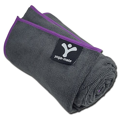 Yoga Mate Premium Skidless Absorbent Microfiber Bikram Yoga Towels, Mat Size Towel, Gray | Purple Trim