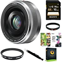 Panasonic Lumix G 20mm f/1.7 II ASPH Lens w/ 16GB SD Card & Corel Suite Bundle (Silver)
