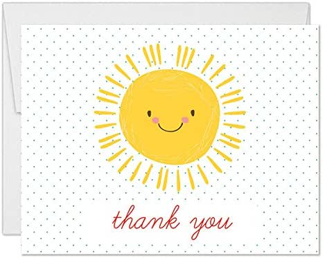 Baby Shower Thanks! Happy Yellow Sunshine Thank You Cards with Envelopes (Pack of 50) Sunny Smile Boy Girl Infant Son Daughter Mommy-To-Be Notecards Thanks for Newborn Gifts Excellent Value VT0077