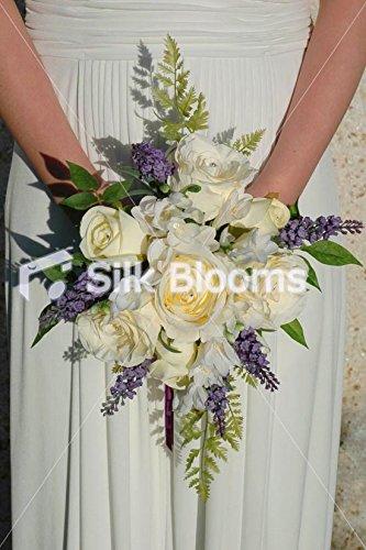 Teardrop Bridal Bouquet - Ivory Rose Teardrop Bridal Bouquet, Green Fern, Purple Veronica
