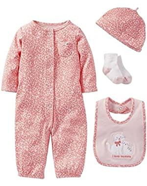 Pink Kitty 4 Piece Sleep & Play Layette 3 Months