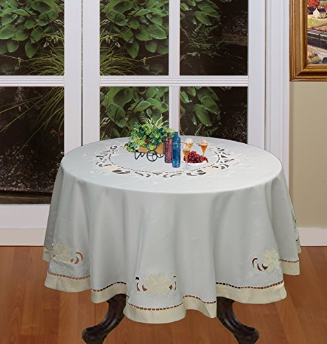 Creative Linens Embroidered Floral Cutwork Applique Tablecloth 68