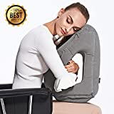 Inflatable Travel Pillow, Ergonomic And Comfortable Head – Chin – Neck Pillow Travel Kit With Super Soft Cover, Sleep Mask and Earplugs