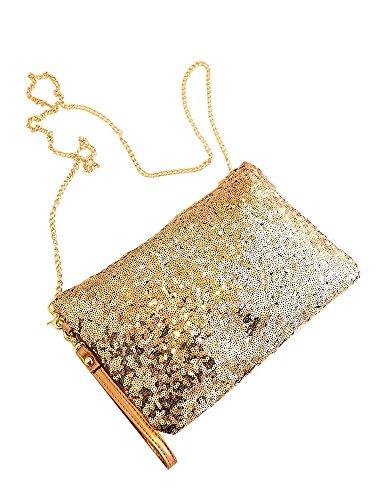 jushen Vintage Pailletten-Umschlag Party Abend Clutch Handtasche Gold Handtasche