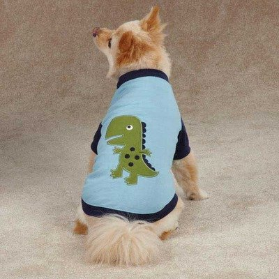 Dino Raglan Dog Tee Size: Large (20″ H x 13″ W x 0.25″ D), My Pet Supplies
