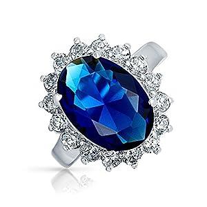 Bling Jewelry Argento 925 4ct zaffiro simulato anello di fidanzamento