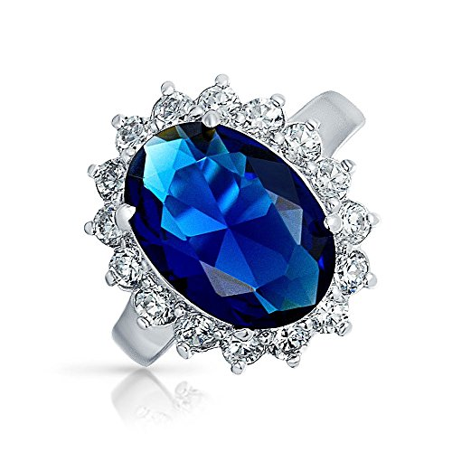 Bling Jewelry Kate Middleton Color Diana Sterling Silver CZ Blue Sapphire Color Royal Engagement Ring Kate Middleton Style - Size (Diana Sterling Silver Ring)