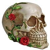 Cranio Caveira Com Flor no Rosto Decorativo Resina