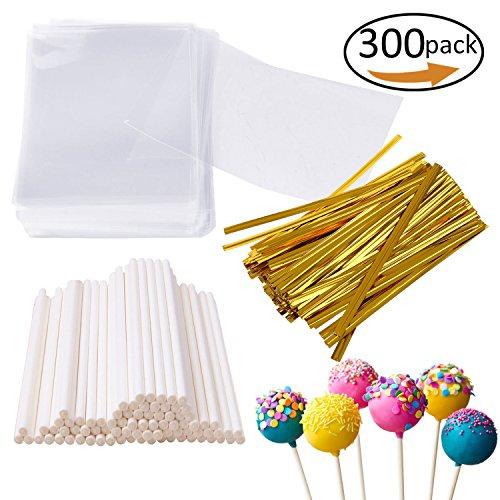 300 Pcs Set Including 100 pack Lollipop treat Sticks,100 Pieces of Lollipop Parcel Bags and 100 Pieces of Wire Lines (Lollipops Set)