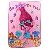 Northwest Kid's Colorful Character Micro Raschel Throw Blanket 46'' x 60'' (Trolls Be True to You)
