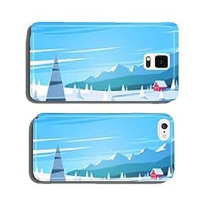 Winter landscape. Vector illustration. cell phone cover case Samsung S5