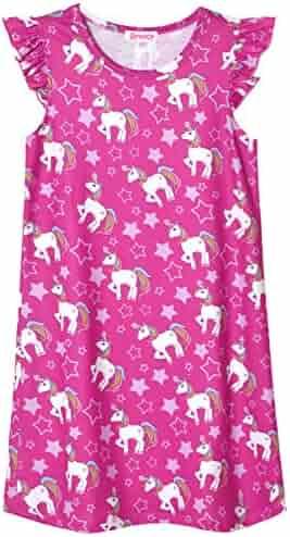 QPANCY Unicorn Nightgowns for Girls Princess Pajamas Cotton Night Dresses