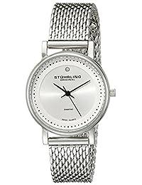 Stuhrling Original Women's 734LM.01 Classic Ascot Casatorra Elite Swiss Quartz Genuine Diamond Stainless Steel Mesh Bracelet Watch