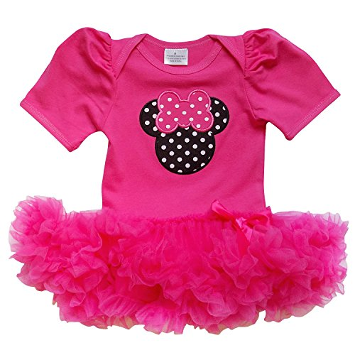 So Sydney Baby Toddler Girl Minnie Mouse Pinks Tutu Chiffon Skirt Onesie Romper (M (6-12 Months), Hot (Minnie Outfit)