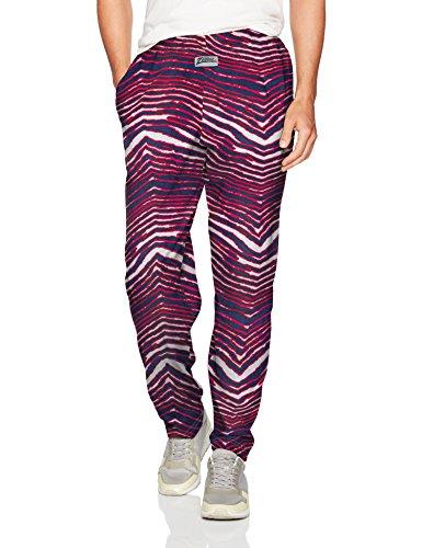 Zubaz Men's Standard Classic Zebra Printed Athletic Lounge Pants, New Blue/red, 2XL