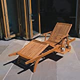 Trueshopping Sun Lounger Amalfi Premium Hardwood fully adjustable, sliding pull out Drinks Tray on 2 Wheels