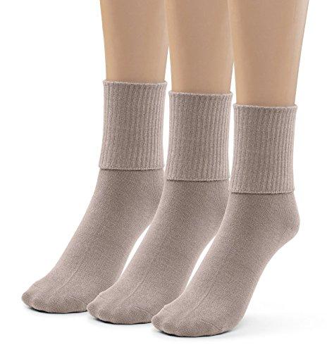 Silky Toes 3 Pk Women's Turn Cuff Bamboo Casual Socks, Triple Roll Dress Crew Socks (10-13, Khaki - 3 Pairs) - Socks Cuff Lightweight