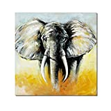 Oil Paintings On Canvas Africa Strong Male Elephant Artwork Wall Decor Art for living Room Bed Room Dinning Room Framed Stretched Ready to Hang - 29.5 x 29.5 inch