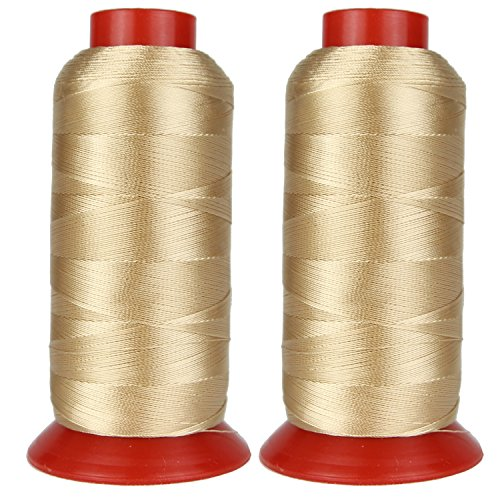 Bonded Polyester Thread High Strength Heavy Duty UV Resistant Outdoor Thread #69 T70 Size 210D/3Ply for Upholstery, Outdoor Market, Drapery, Leather, Denim and Luggage, 3000Yards Pack of 2 ()