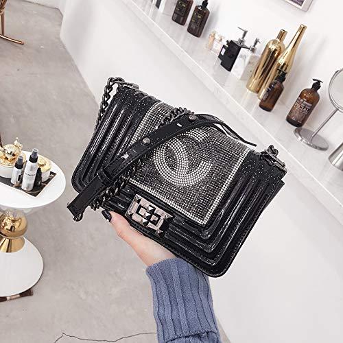 marée de chaîne Mode épaule Messenger Sauvage Sac Petit Petit Sac Sac Parfum WSLMHH brillant carré de Noir Sac Femme AaYwxZq