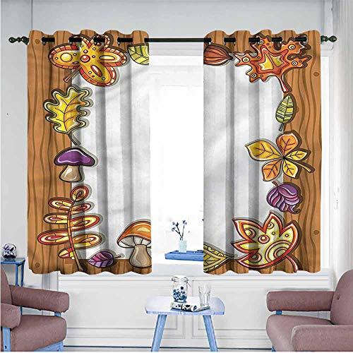 VIVIDX Kids Curtains,Harvest,Autumnal Nature Symbols,Grommet Curtains for Bedroom,W63x63L