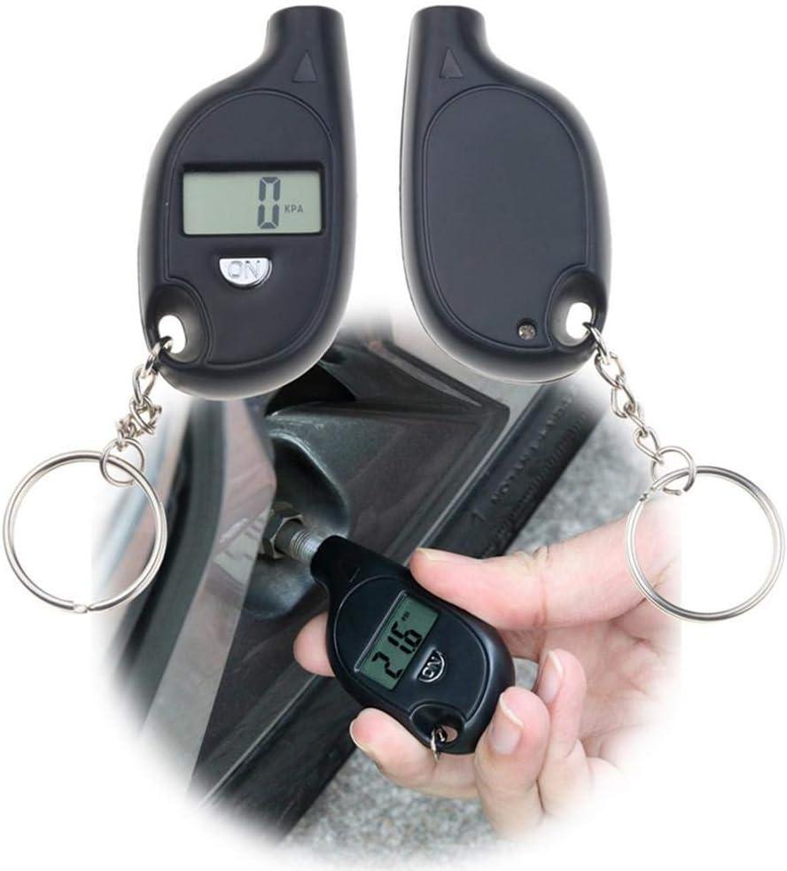 mbition 1 PCS Portable Mini LCD Num/érique Jauge de Pression des Pneus TPMS Outils De V/élo Moteur De Pneu Testeur de Pression des Pneus Air Checker Adaptateur avec Porte-cl/és Blanc