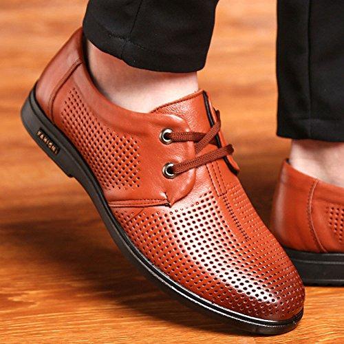pour Décontractées Véritable Chaussures Chaussures Brown en LEDLFIE Hommes Cuir Découpes Hommes Chaussures Ronds pour Respirant Ydx4I0dnq