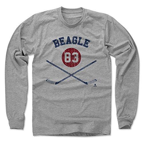 500 LEVEL's Jay Beagle Long Sleeve Shirt X-Large Heather Gray - Washington Hockey Fan Apparel - Jay Beagle Washington Sticks (Beagle Fan)