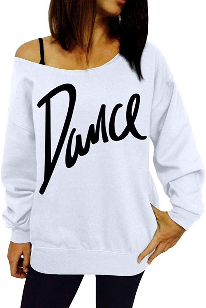 Gaddrt Tops Womens Ladies Loose Slash Neck Sweatshirt Ladies Casual Letter Dance Pullovers Top