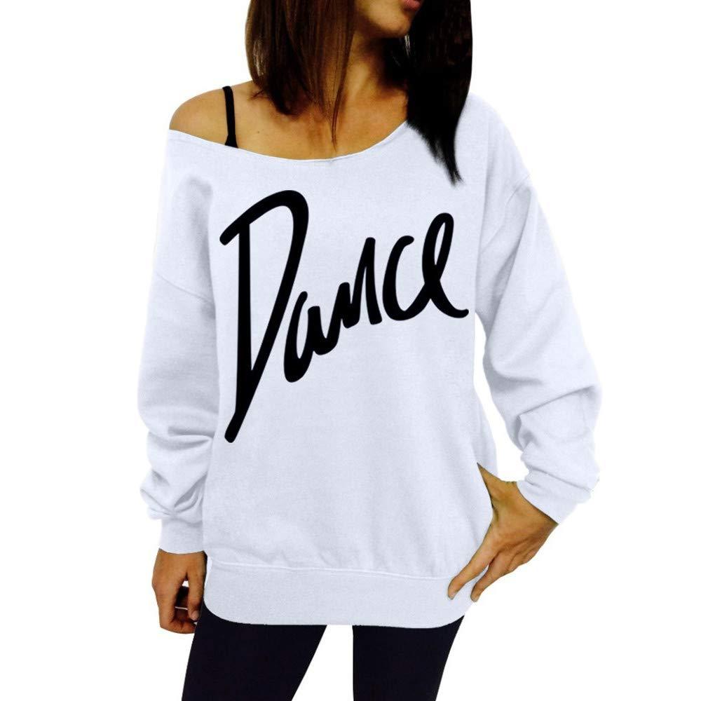 MRULIC Damen Langarm Schulterfreie T-Shirt Tunic Bluse Oberteile Kapuzenpullover Bangtan Sweatshirts Lose Jumper Damen Strick Sweater Sweatshirt Basic Tops MRULIC Women
