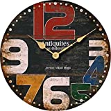 Buggy 14inch 35CM Chic Wall Clock - Multi-Coloured Cute Retro Style Clock Wall - Vintage Wall Clocks for Living Room-Bedroom and Kitchen