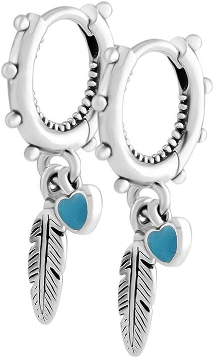 Chicbuy, Orecchini pendenti estivi con piume spirituali, smaltati di colore  turchese, in argento 925, gioielli alla moda adatti come charm per ...