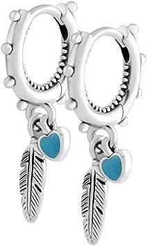 Cooltaste 2018 Summer spirituale piume turchese smalto orecchini in argento  925 DIY adatto per originale Pandora charm Fashion Jewelry