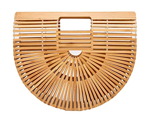 Bamboo Handbag Tote Purse Straw Beach Bag for Women Large ()