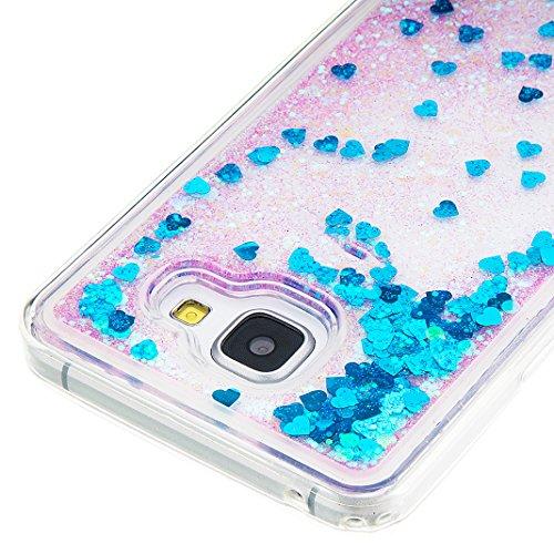 TPU Funda Galaxy A310 Rosa Schleife® Samsung Galaxy A310 Brillante Ultra-Delgada Transparente del Caso del Patrón TPU de Silicona Funda,Gel Cute Patrón Fluyendo Líquido [Líquido Movimiento de Arena] C Azul - 1