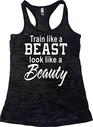 Orange Arrow Ladies Workout Clothing (L, Black) - Train Like A Beast Look Like A Beauty - Zumba Tank Top