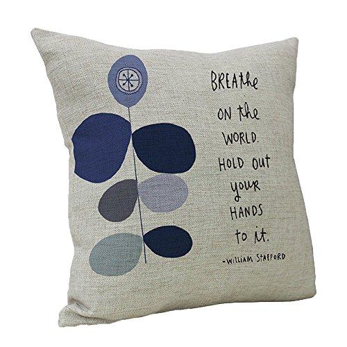 Littay Pillowcase 18inch x 18inch,Vintage Retro Cotton Linen Waist Throw Pillow Case Cushion Cover Home Sofa Decor ()