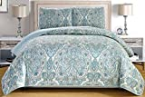 3-Piece Fine printed Oversize (100' X 95') Quilt Set Reversible Bedspread Coverlet QUEEN SIZE Bed Cover (Pale Blue, Grey, Paisley)