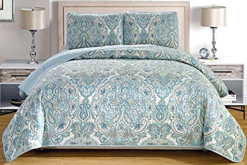 """3-Piece Fine printed Oversize (100"""" X 95"""") Quilt Set Reversible Bedspread Coverlet QUEEN SIZE Bed Cover (Pale Blue, Grey, Paisley)"""