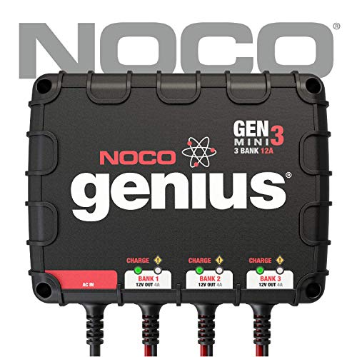 NOCO Genius GENM3 12 Amp 3-Bank On-Board Battery Charger (Minn Kota Trolling Motor Battery)