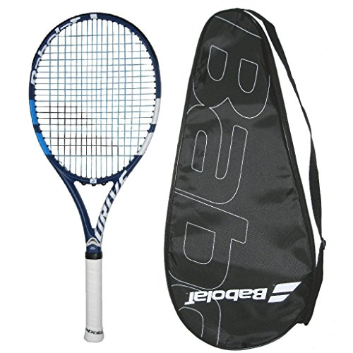 Babolat 2018 Drive G Lite Tennis Racquet - Strung with Color Choice - Cover (4-3/8, Blue String)