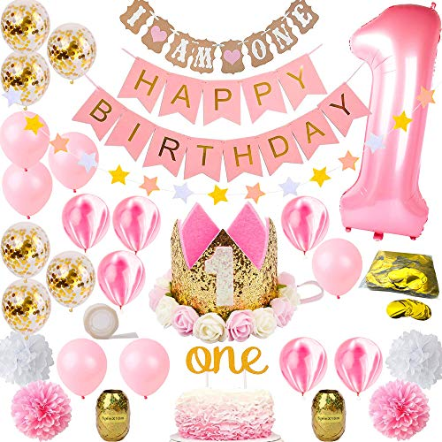 FunDeco Party 1st Birthday Decorations for Girl Mega Bundle | Pink and Gold Girls Theme Kit Set | First Bday Tiara Crown Hat, One Cake Topper, Foil, Confetti, Marble Balloons, Banner, Poms, Bunting