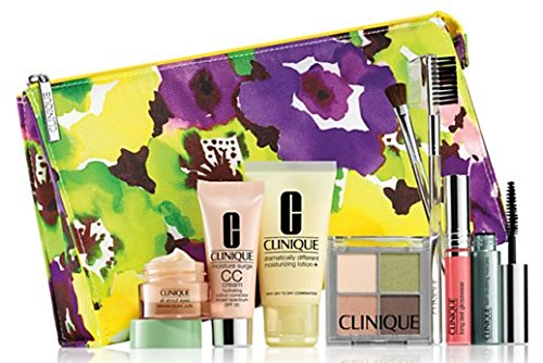 NEW 2015 Clinique 9 Pcs Makeup Skincare Gift Set with Brush Kit & More! ($85+ Value)