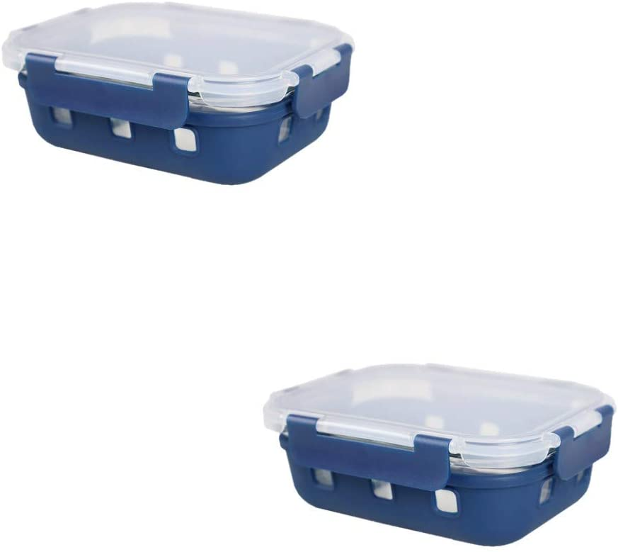 Michael Graves Design Rectangle High Borosilicate Glass Food Storage Container with Plastic Lid, Indigo (2, 21 Ounce)
