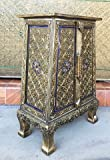 """Product review for Thai Antique Handmade Furniture Bird Gold and Blue Glass Storage Cabinet/Nightstand, Home Decor, 25""""H x 10.5""""W x 14.5""""L. Thailand Work Art By WADSUWAN SHOP."""