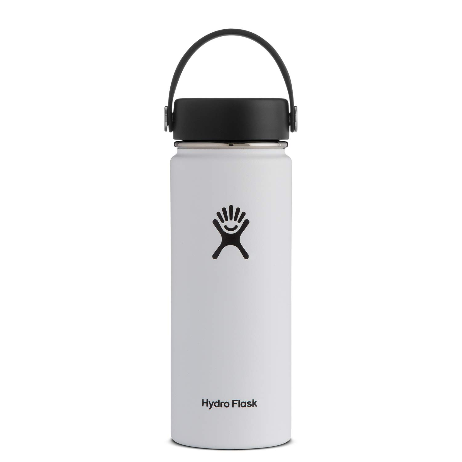 Hydro Flask Water Bottle - Stainless Steel & Vacuum Insulated - Wide Mouth with Leak Proof Flex Cap - 18 oz, White by Hydro Flask