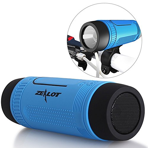 ZEALOT S1 Portable Waterproof Wireless Bluetooth Speakers with Toolless Bracket and Carabiner, Bike Accessory with Mobile Power Bank, Emergency Torchlight, TF Card Music Player (Blue)