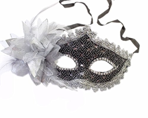FuzzyGreen Fashion Ladies Women Party Mardi Gras Carnival Costume Venetian Pattern Silver Flower and Feathers Lace Black Sequins Rhinestones Décor Mask (Simple Venetian Masks)