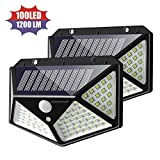 Solar Security Light, 100 LED Solar Lights Outdoor Motion Sensor with [270° Wide Angle] [120° Sensor Range] [3 Modes], Wireless Waterproof Wall Lamp for Garden, Patio, Fence, Yard, Driveway - 2 Pack