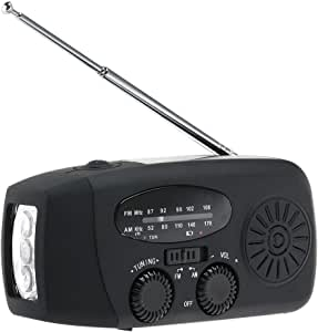 LIOOBO Emergency Solar Crank am fm Camp Radio with led Flashlight USB Output Port (Black)